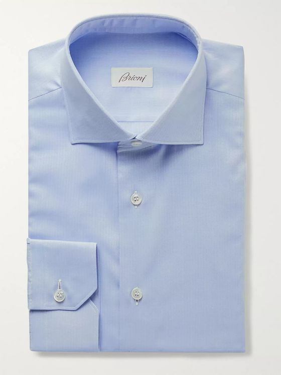 BRIONI Cutaway-Collar Herringbone Cotton Shirt