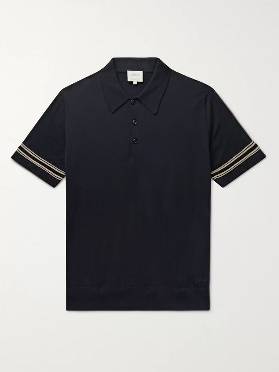 BRIONI Striped Wool and Silk-Blend Polo Shirt
