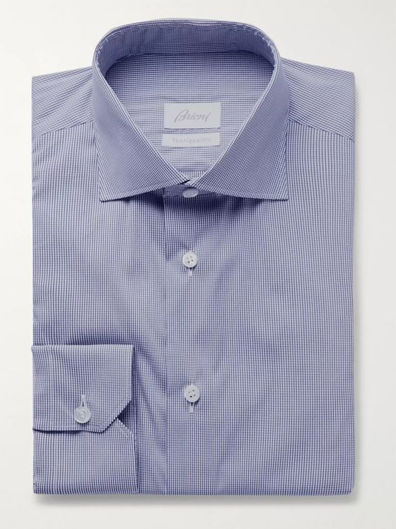 BRIONI Slim-Fit Checked Stretch Cotton-Blend Poplin Shirt