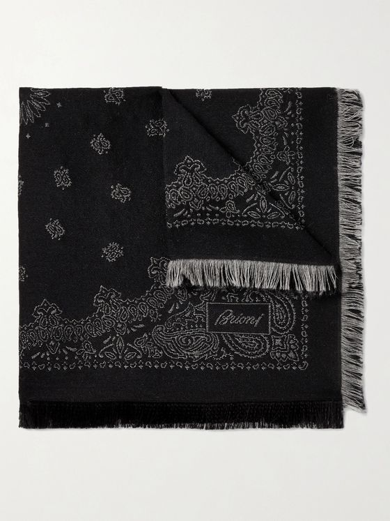 Brioni Fringed Paisley-Jacquard Wool and Silk-Blend Pocket Square
