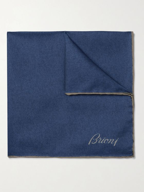 Brioni Contrast-Tipped Mélange Silk-Twill Pocket Square