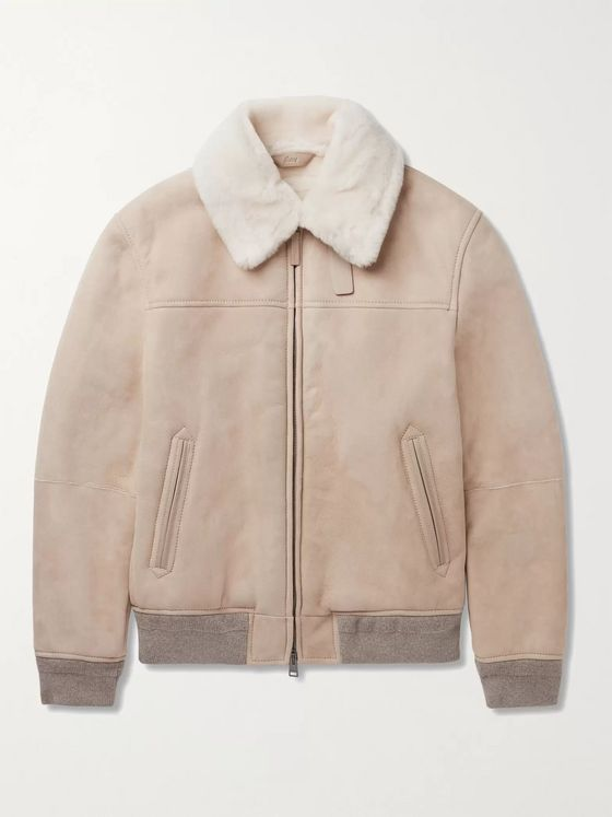BRIONI Slim-Fit Shearling-Trimmed Suede Bomber Jacket