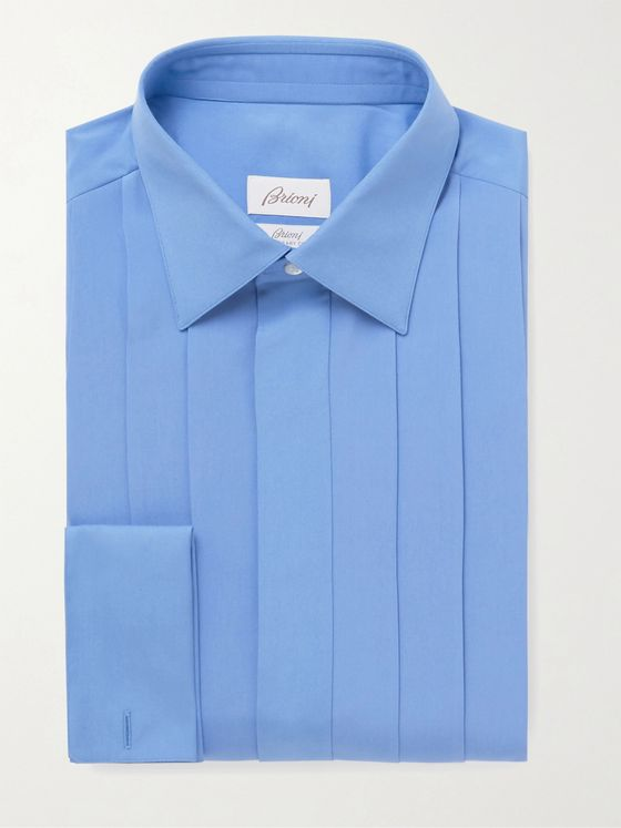 BRIONI Pleated Bib-Front Silk Tuxedo Shirt