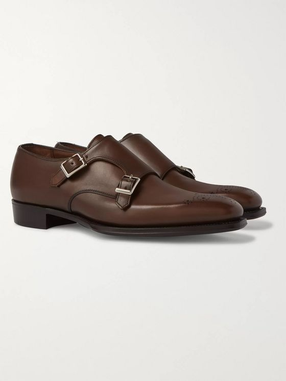 Kingsman + George Cleverley Perforated  Leather Monk-Strap Shoes