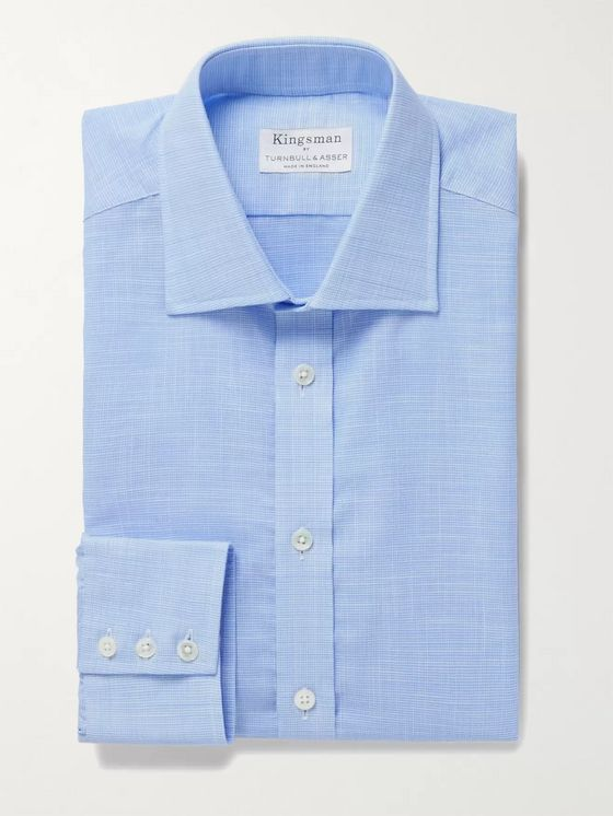 Kingsman + Turnbull & Asser Houndstooth Cotton-Chambray Shirt