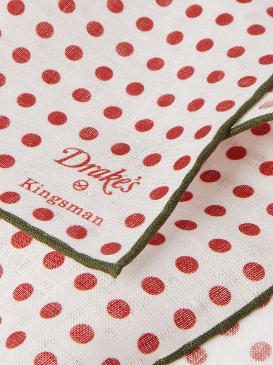 Kingsman + Drake's Polka-Dot Linen Pocket Square