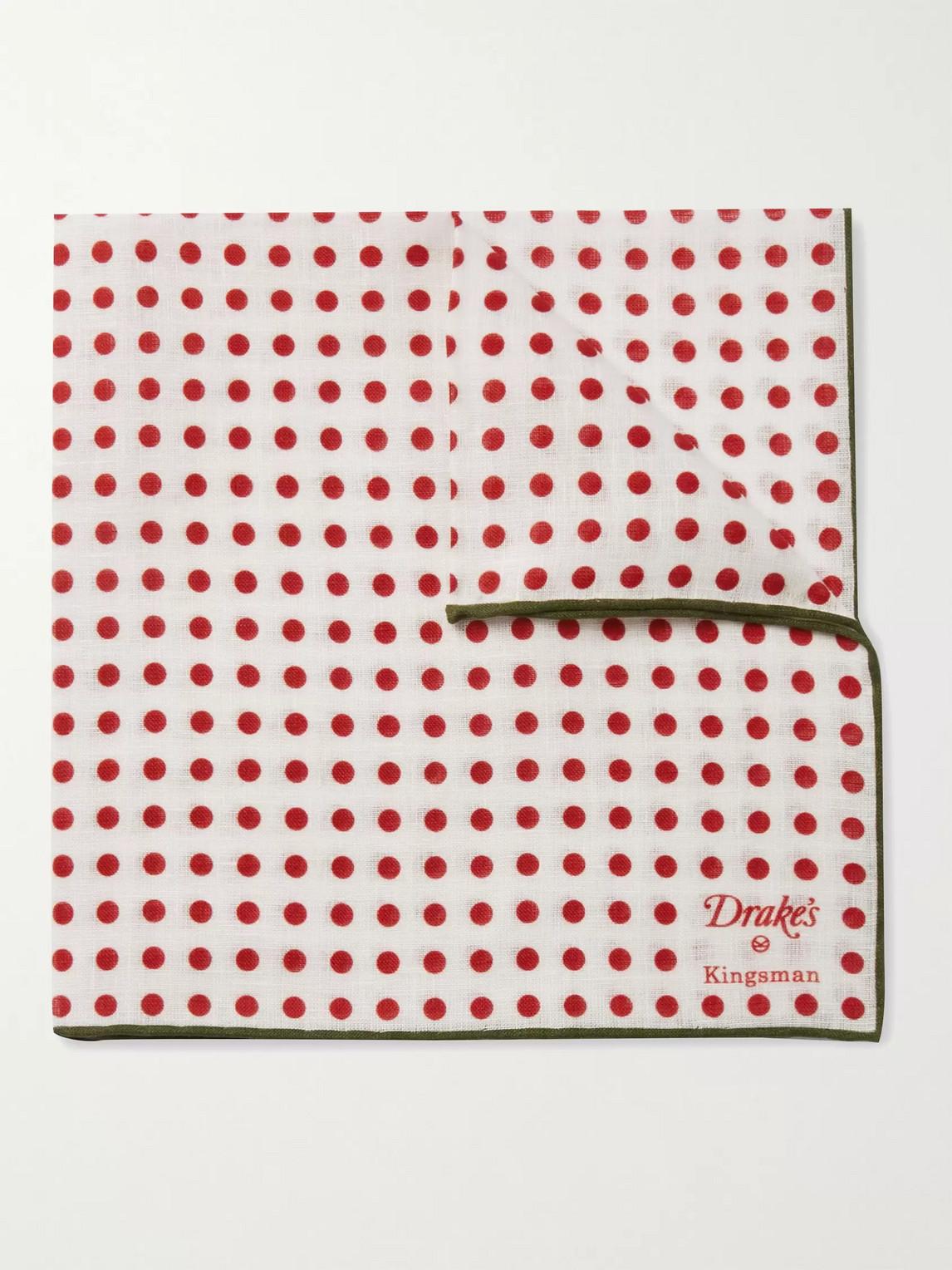 Kingsman Drake's Polka-dot Linen Pocket Square In Red