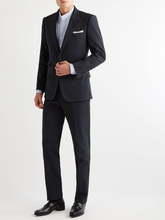 Kingsman Slim-Fit Cotton-Seersucker Suit Trousers