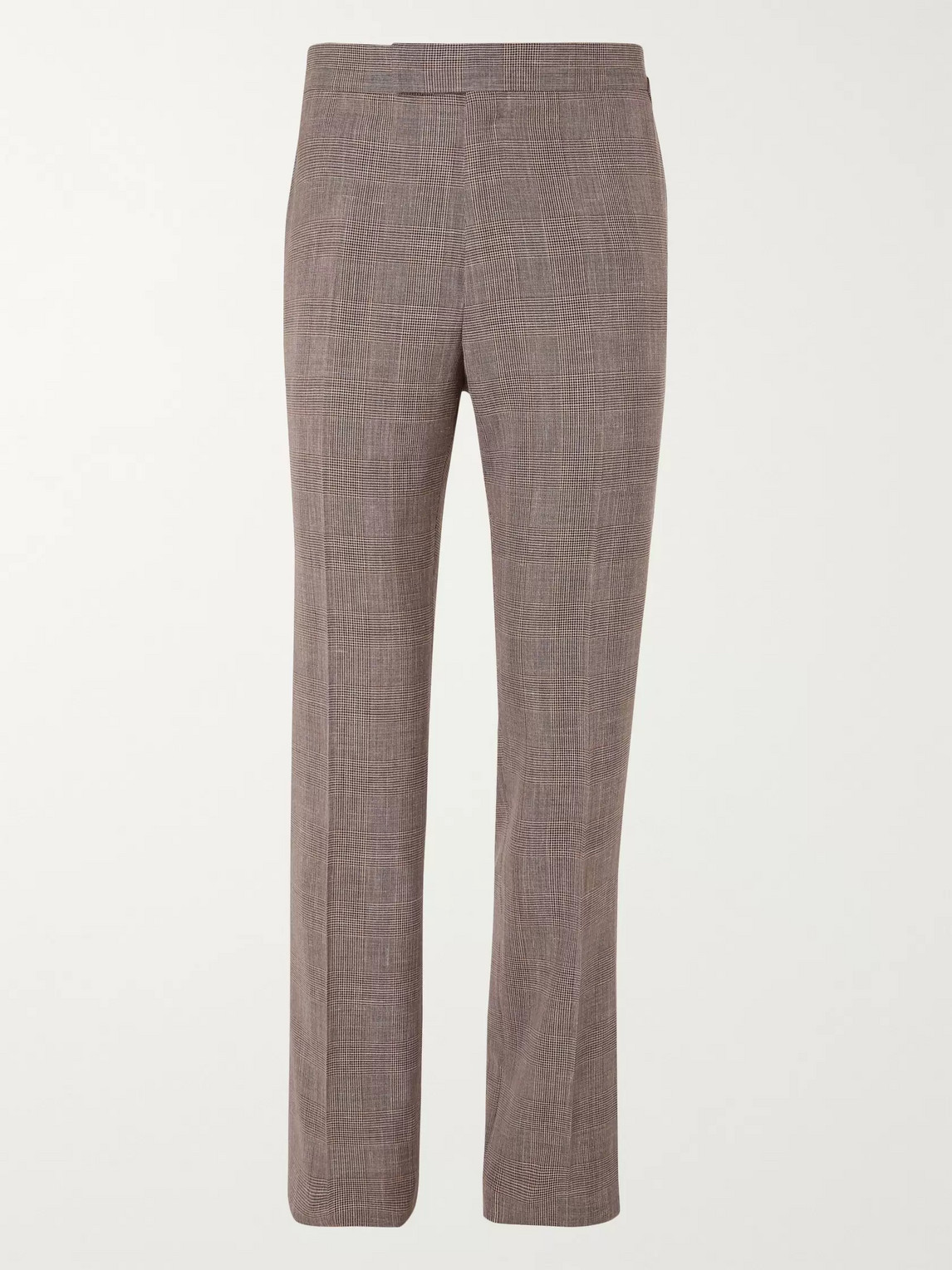 Kingsman Prince Of Wales Checked Wool, Silk And Linen-blend Suit Trousers In Brown