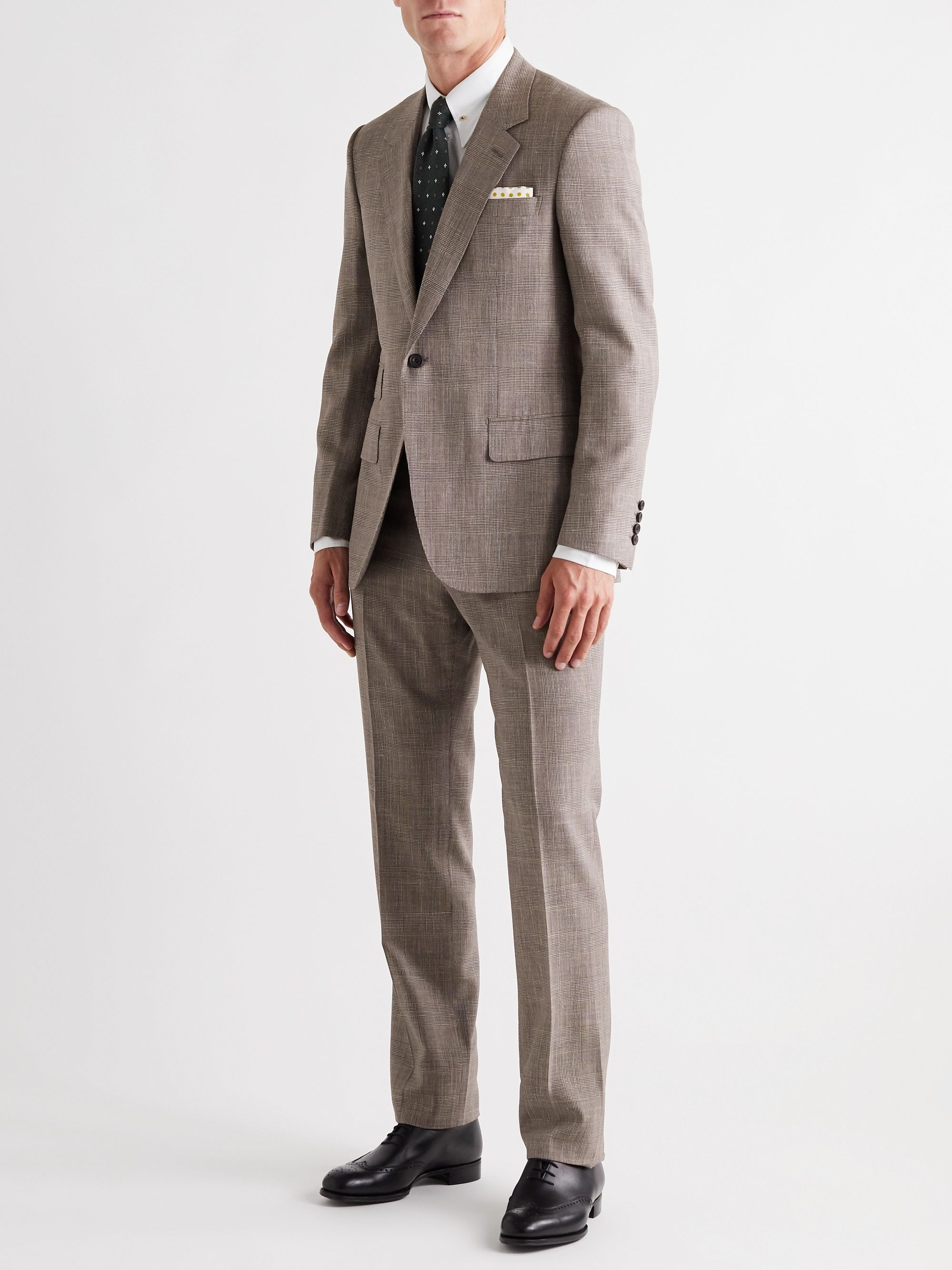 Kingsman Prince of Wales Checked Wool, Silk and Linen-Blend Suit Trousers