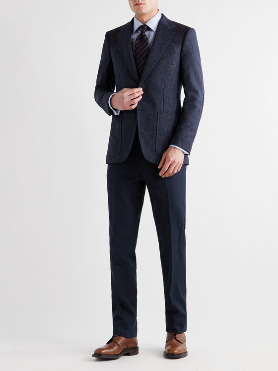 Kingsman Saville Slim-Fit Herringbone Cotton and Linen-Blend Suit Trousers