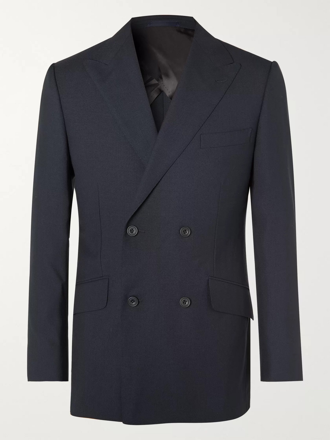 Kingsman Arthur Harrison Double-breasted Wool Suit Jacket In Blue