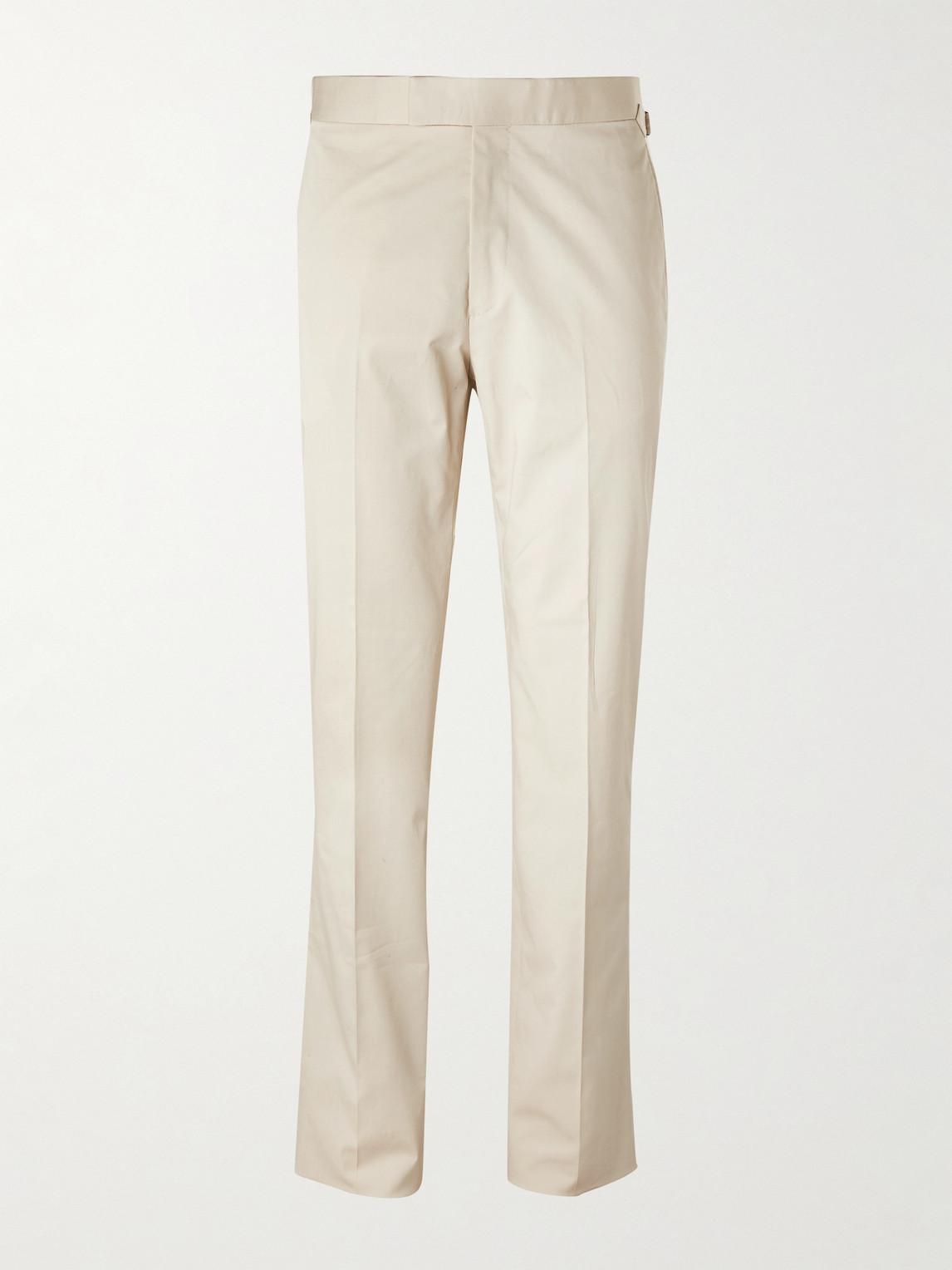Kingsman Slim-fit Cotton-blend Twill Suit Trousers In Neutrals