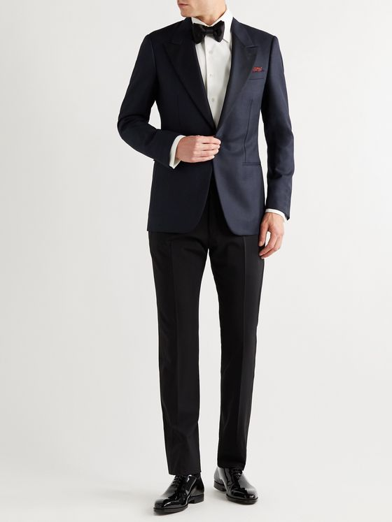 Kingsman Arthur Harrison Slim-Fit Silk Faille-Trimmed Wool and Mohair-Blend Herringbone Tuxedo Jacket