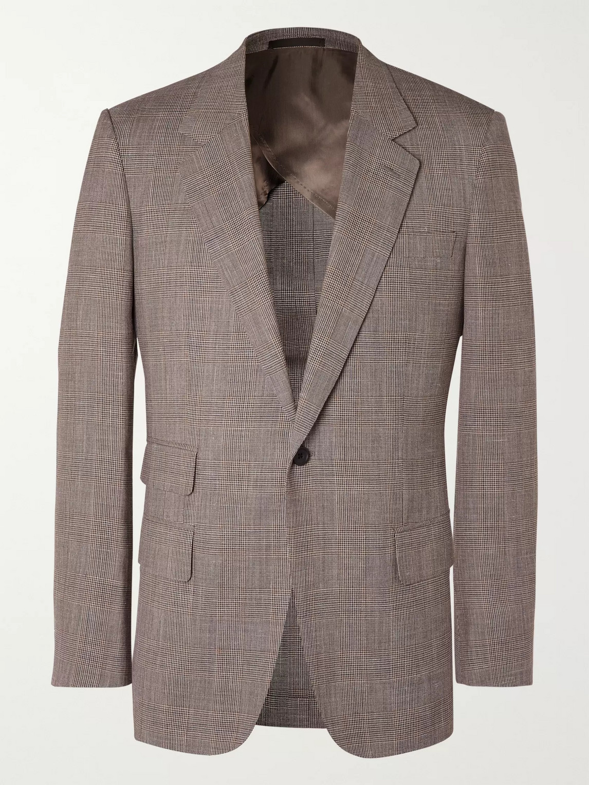 Kingsman Prince Of Wales Checked Wool, Silk And Linen-blend Suit Jacket In Brown