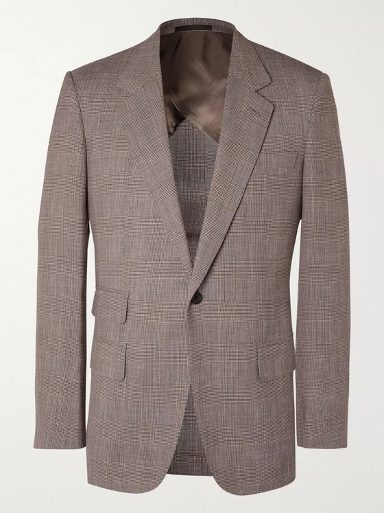 Kingsman Prince of Wales Checked Wool, Silk and Linen-Blend Suit Jacket
