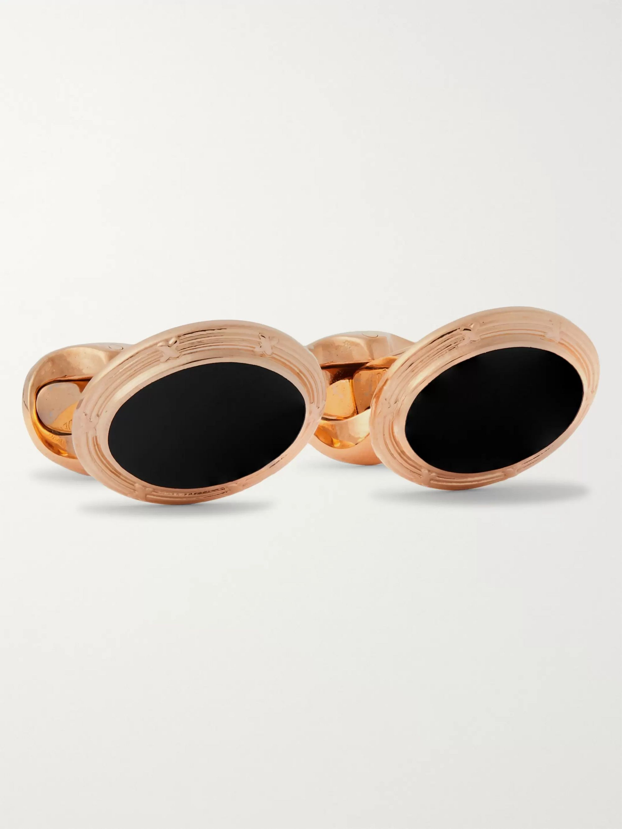 Kingsman + Deakin & Francis Engraved Rose Gold-Plated and Enamel Cufflinks