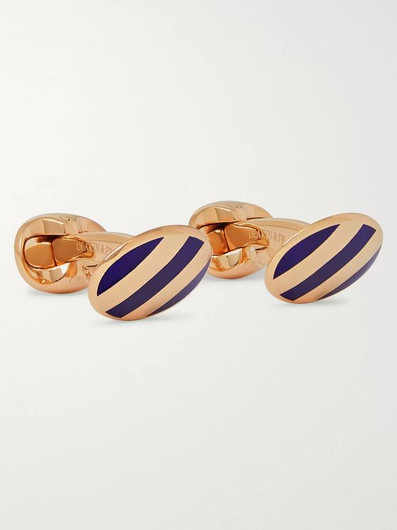 Kingsman + Deakin & Francis Striped Rose Gold-Plated Cufflinks