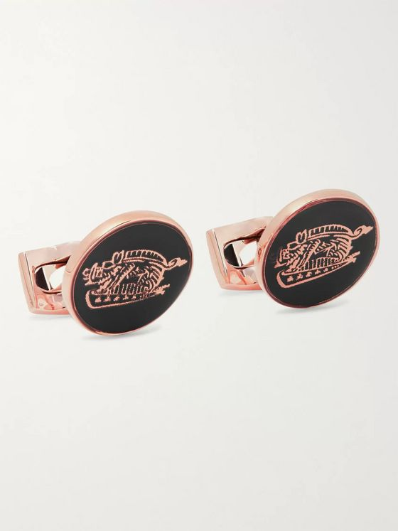 Kingsman + Deakin & Francis Animal Rose Gold-Tone and Enamel Cufflinks
