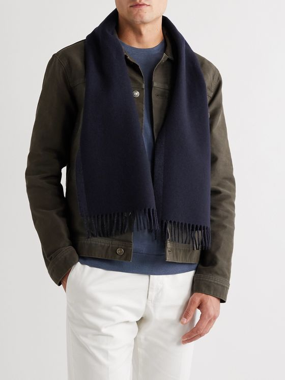 Ermenegildo Zegna Fringed Two-Tone Wool and Cashmere-Blend Scarf