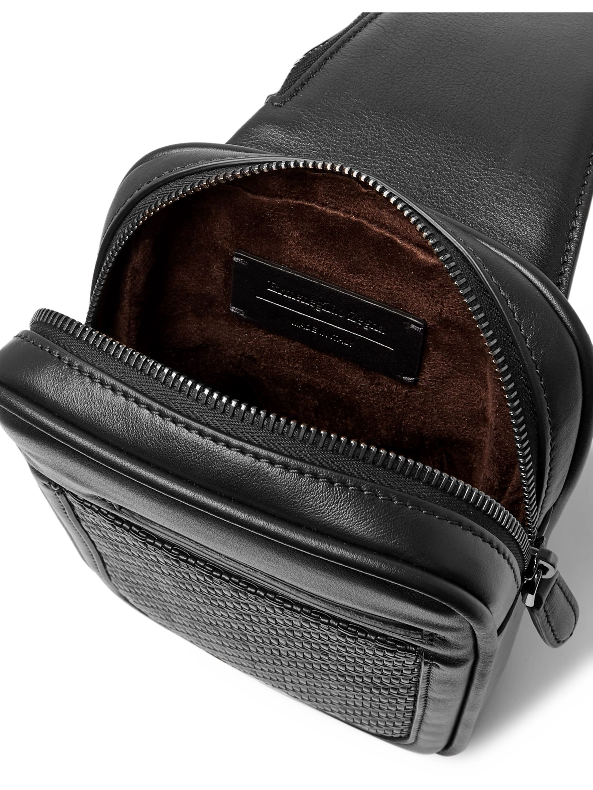 Ermenegildo Zegna Pelle Tessuta and Smooth Leather Belt Bag