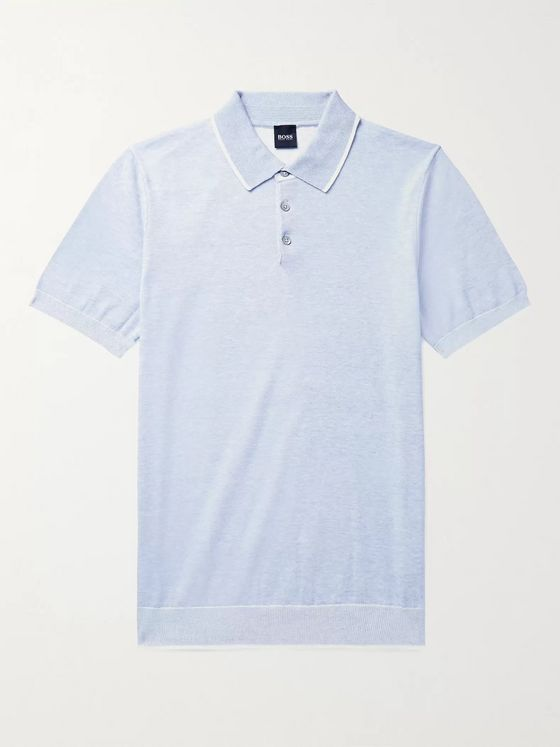 Hugo Boss Slim-Fit Contrast-Tipped Knitted Cotton Polo Shirt
