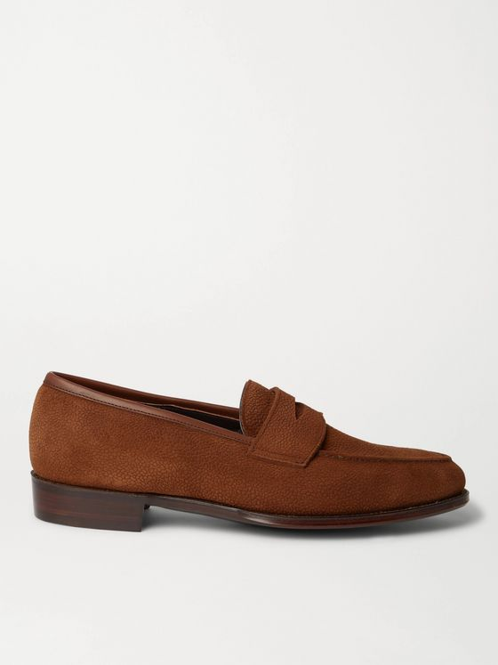 George Cleverley Bradley II Pebble-Grain Suede Penny Loafers