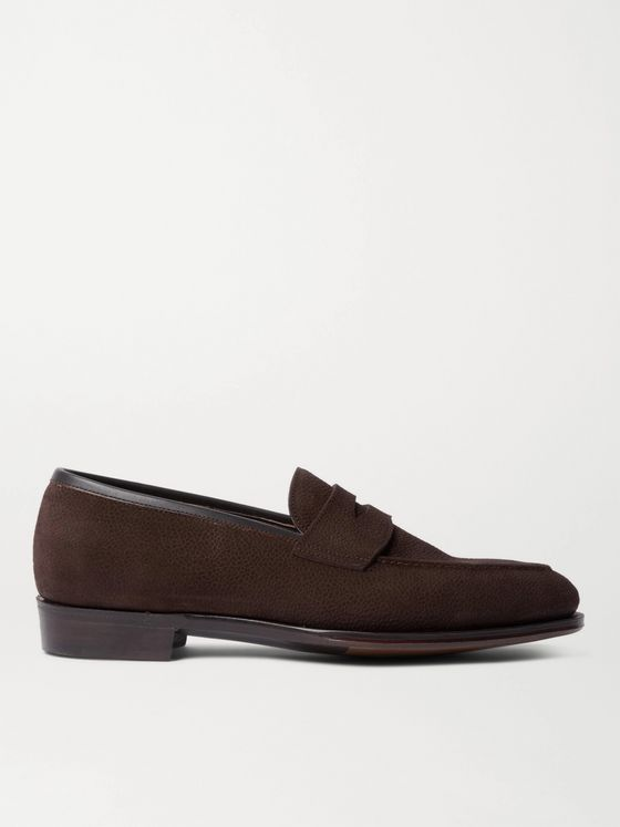 George Cleverley Bradley II Pebble-Grain Nubuck Penny Loafers