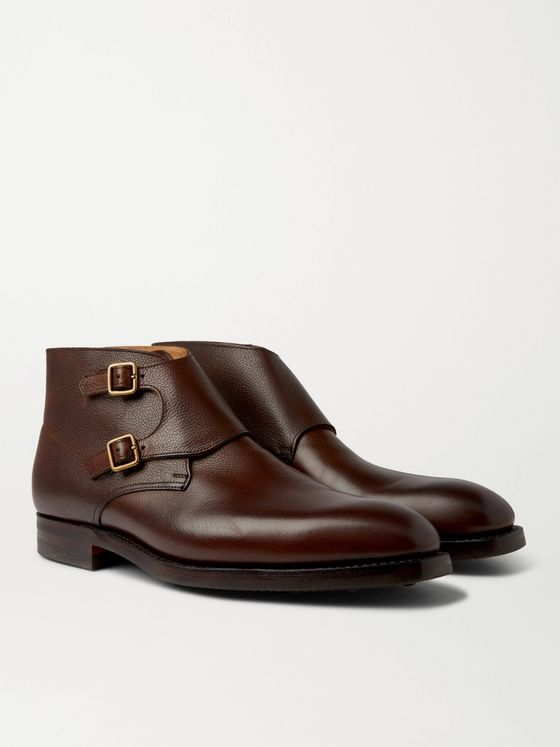 George Cleverley Fry Pebble-Grain Leather Monk-Strap Boots