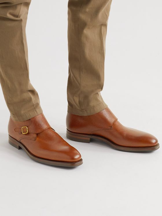 GEORGE CLEVERLEY Pebble-Grain Leather Monk-Strap Boots