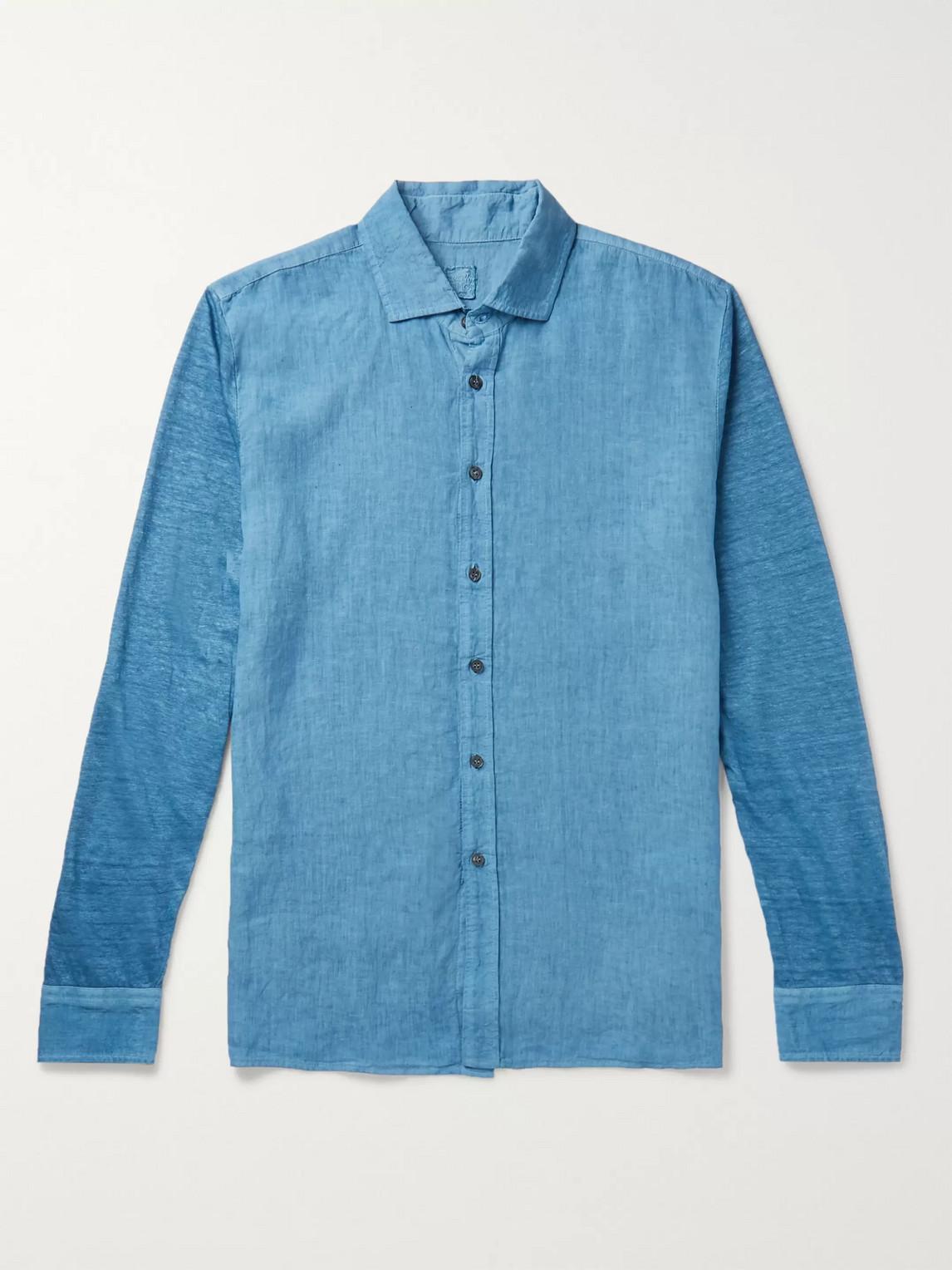 120% Linen-chambray Shirt In Blue