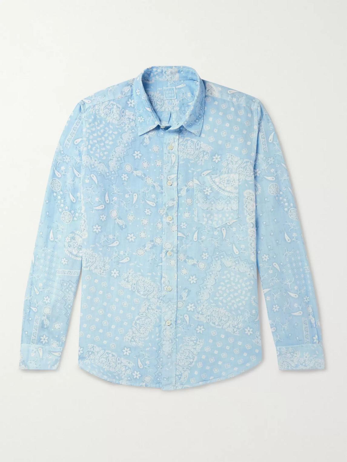 120% Paisley-print Linen Shirt In Blue