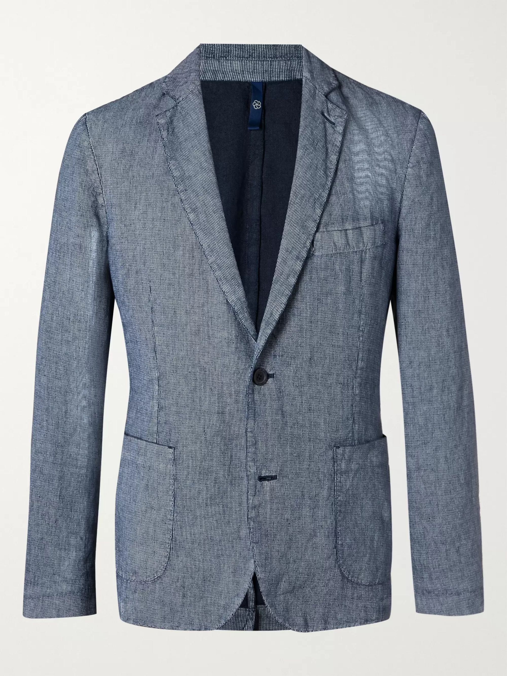 120% Unstructured Pinstriped Linen Blazer