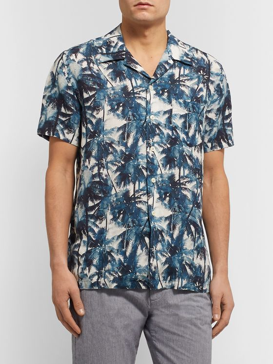 120% Camp-Collar Printed Linen Shirt