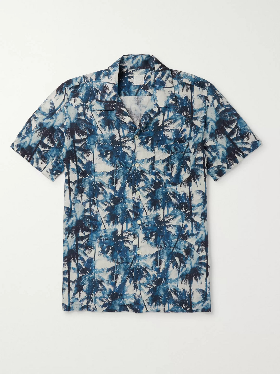120% Camp-collar Printed Linen Shirt In Blue