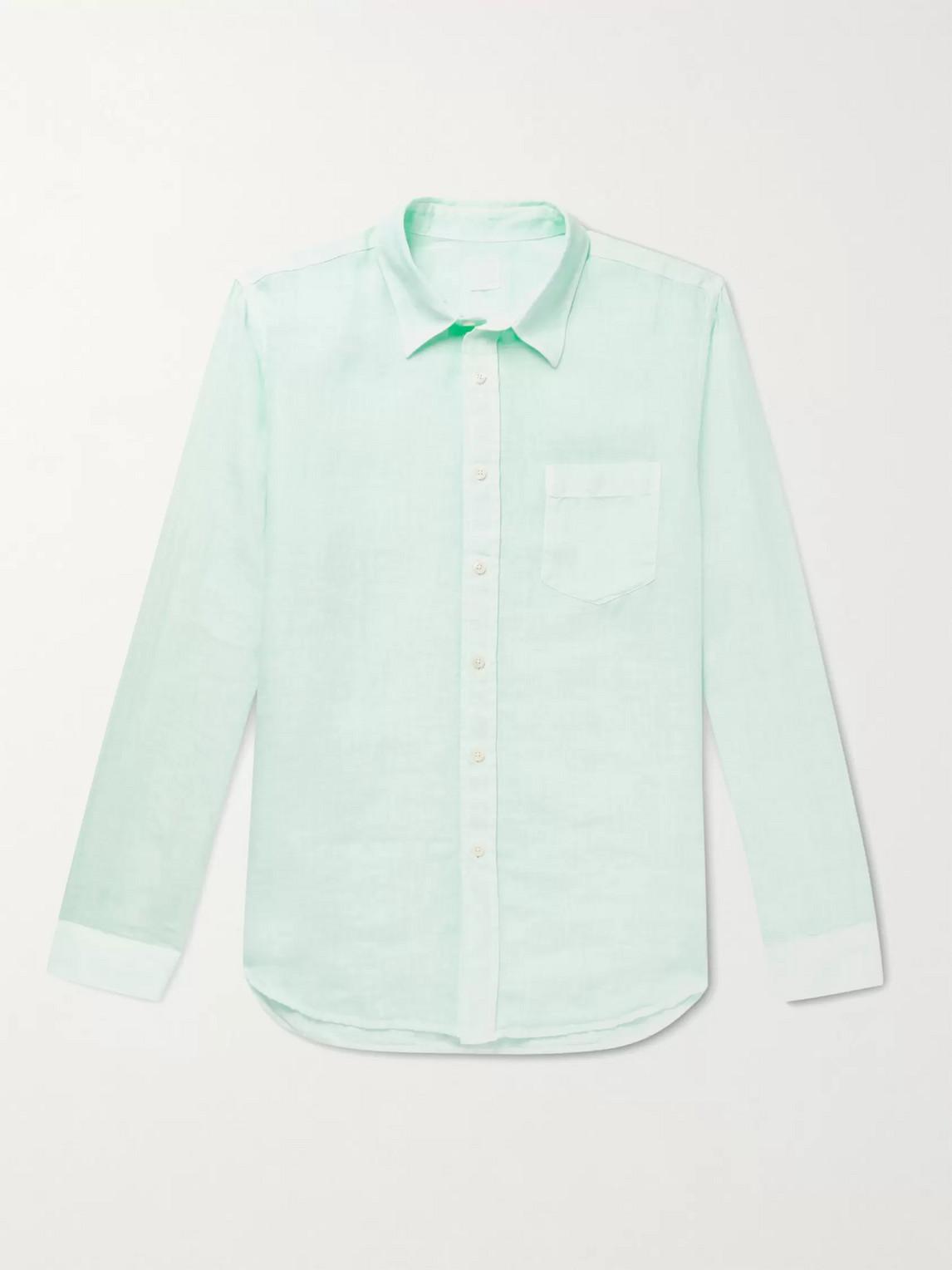 120% Linen Shirt In Green