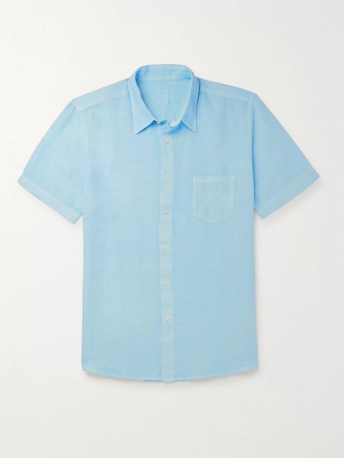 120% Linen Shirt In Blue