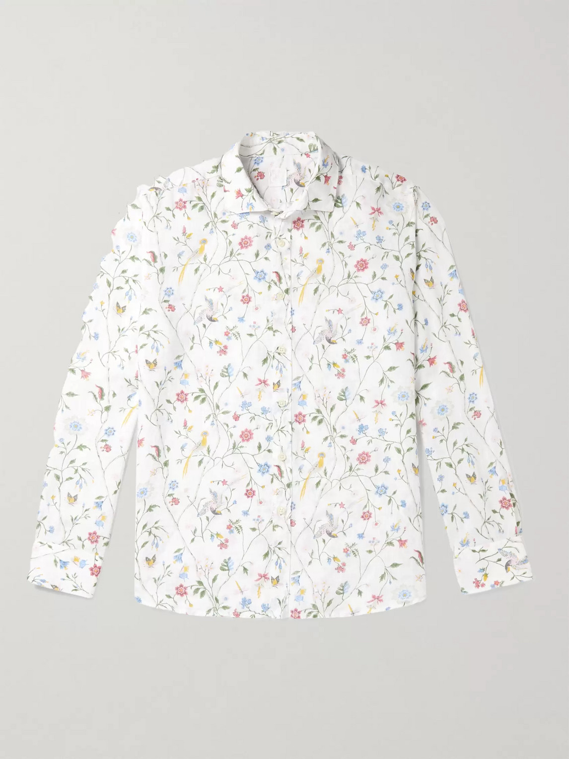 120% Printed Linen Shirt In White