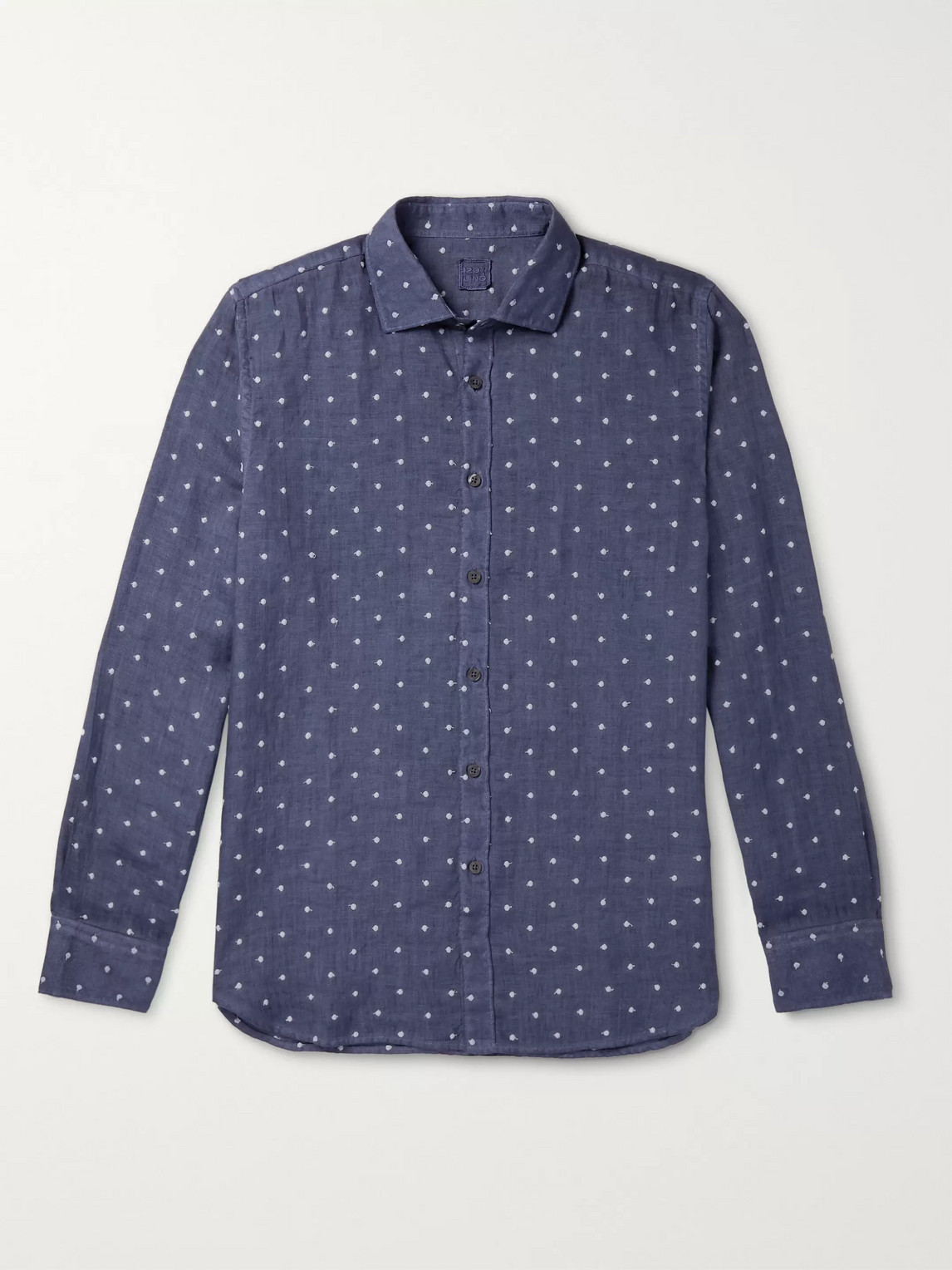 120% Polka-dot Embroidered Linen Shirt In Blue