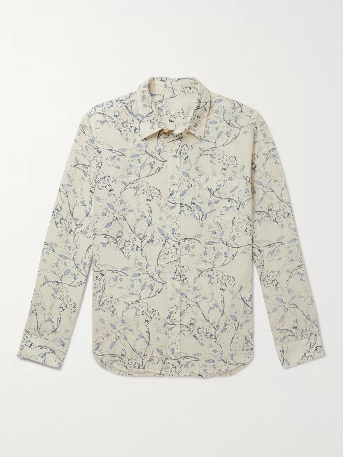 120% Printed Linen Shirt In Neutrals