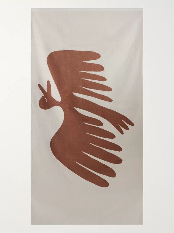 Mollusk Free Burd Cotton-Terry Jacquard Towel