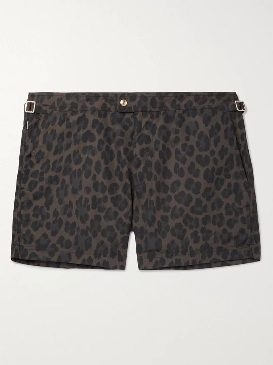 TOM FORD Slim-Fit Short-Length Leopard-Print Swim Shorts