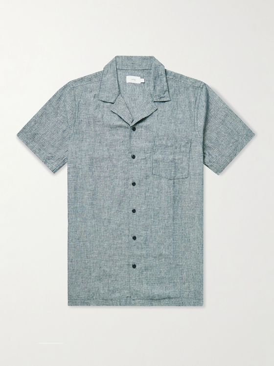 Onia Vacation Camp-Collar Linen-Dobby Shirt