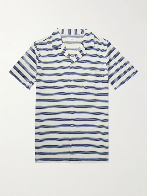 Onia Vacation Camp-Collar Striped Woven Shirt