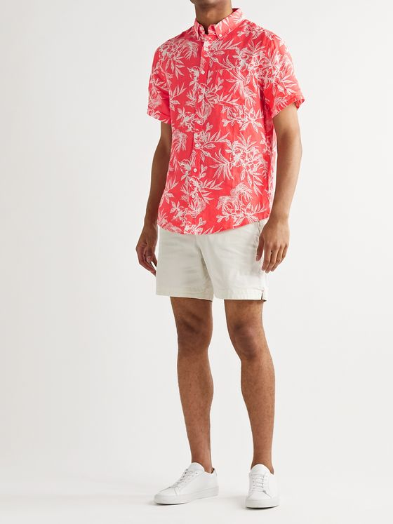 Onia Jack Button-Down Collar Floral-Print Linen Shirt