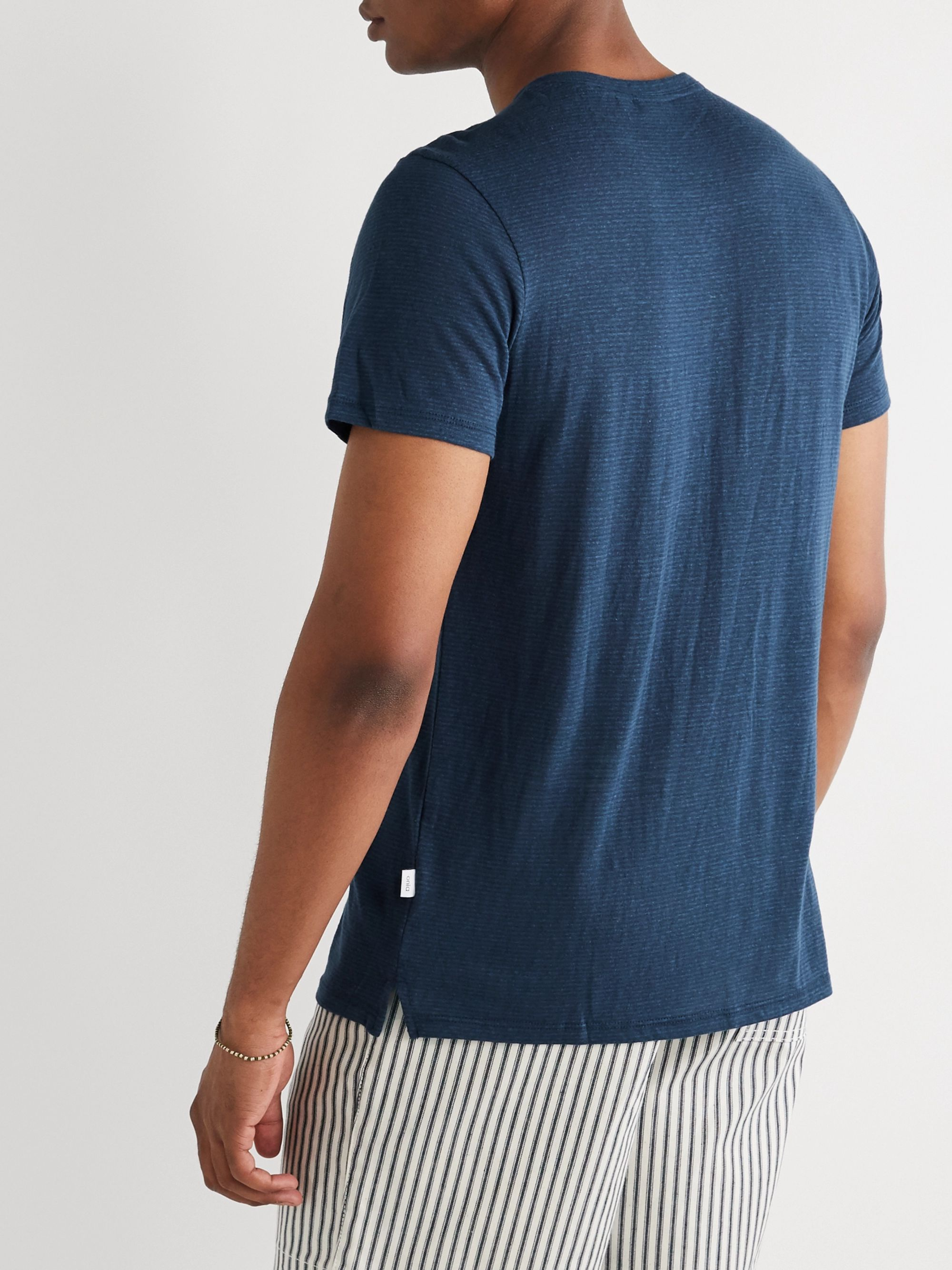 Onia Elliot Striped Linen-Blend Henley T-Shirt