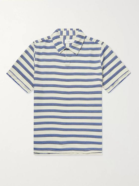Onia William Striped Woven Polo Shirt