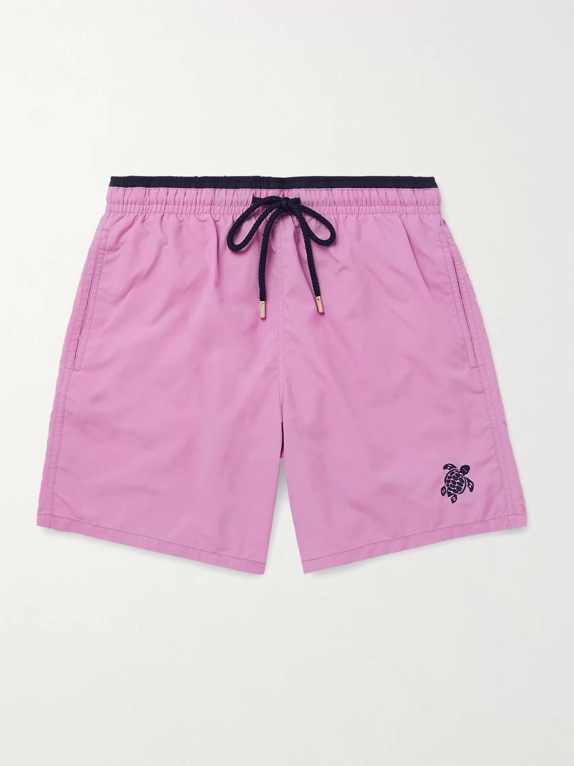 Vilebrequin Moka Mid-length Logo-embroidered Swim Shorts In Purple