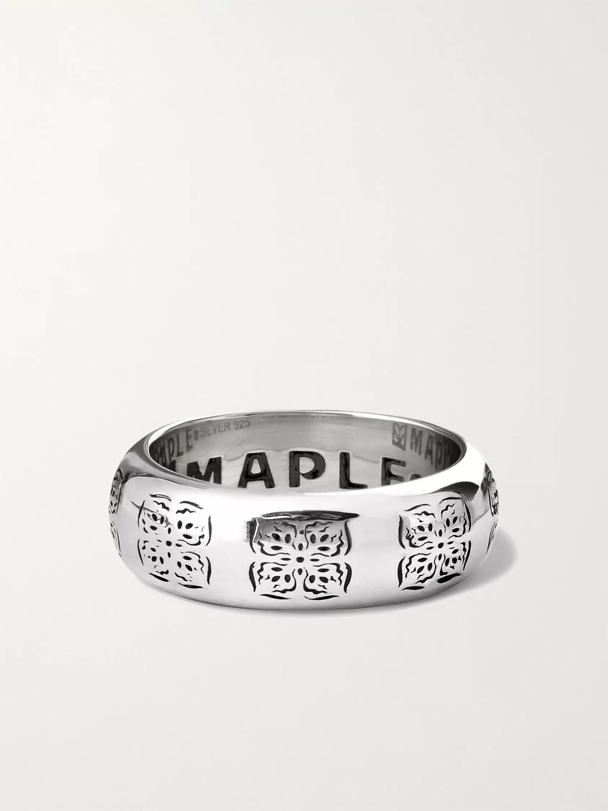 MAPLE Engraved Silver Ring
