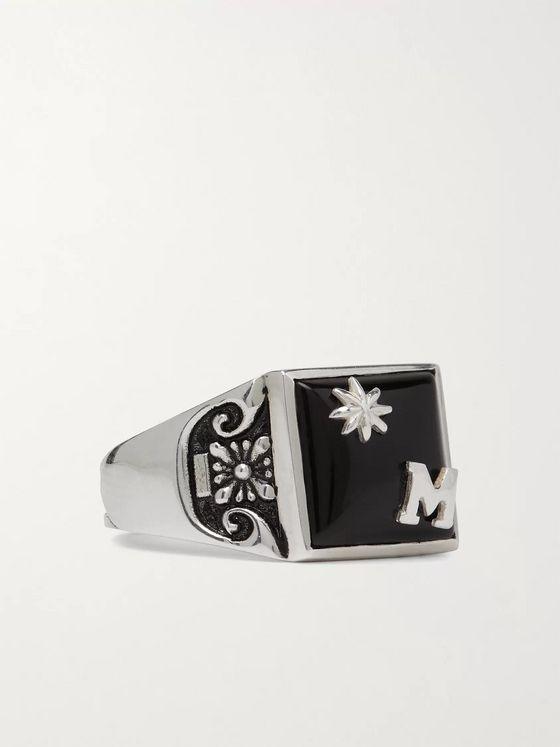 MAPLE Collegiate Burnished Sterling Silver and Onyx Ring